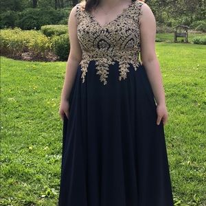 Navy Prom Dress with Beaded Applique